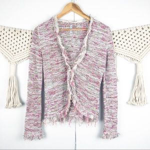 Ball Of Cotton fringed hook and eye cardigan pink